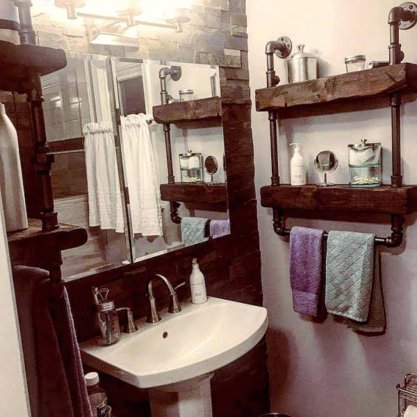 100 Cozy Rustic Farmhouse Bathroom Decor Ideas You Can Easily Copy - Check out this #rustic bathroom decor idea with wood and piping shelves. Love it! #BathroomDesign #HomeDecorIdeas
