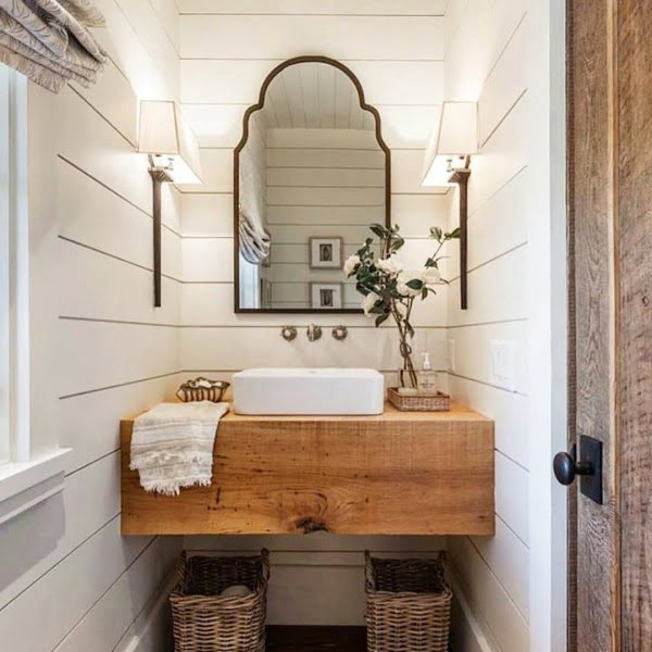 100 Cozy Rustic Farmhouse Bathroom Decor Ideas You Can Easily Copy - Check out this  bathroom decor idea with butcher block vanity and storage baskets. Love it!