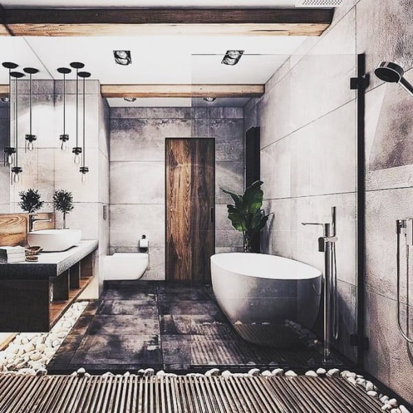 You have to see this bathroom decor idea with industrial style that will turn your bathroom into SPA!