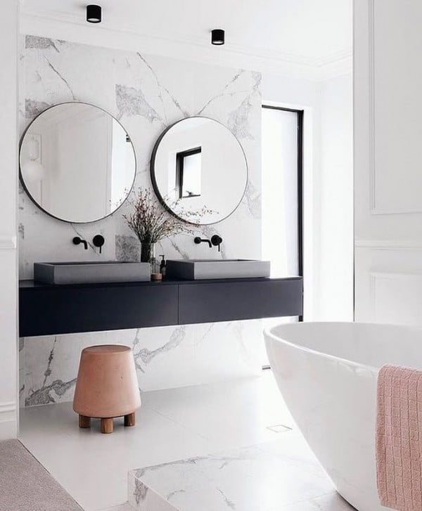 You have to see this bathroom decor idea with marble walls that will turn your bathroom into SPA!