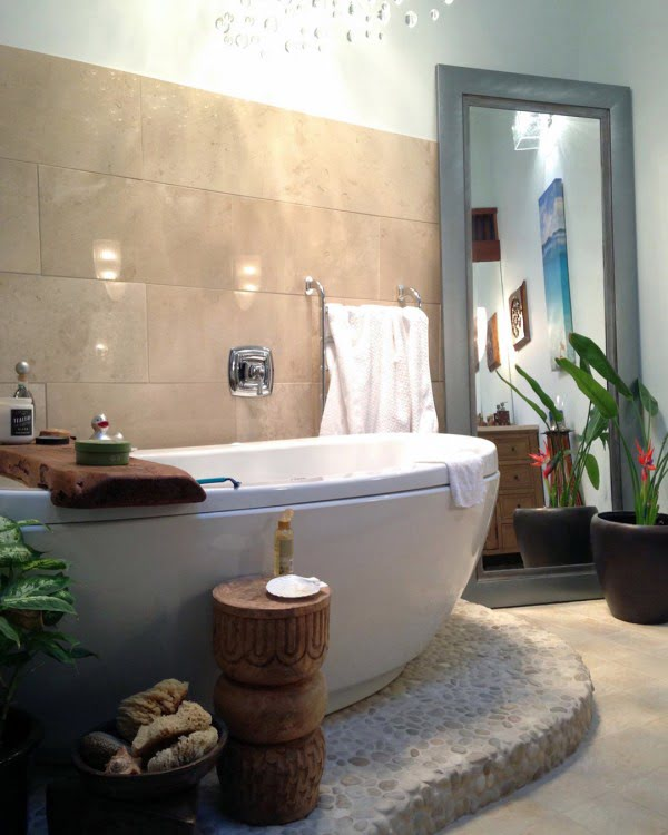You have to see this bathroom decor idea with natural stone and wood accents that will turn your bathroom into SPA!