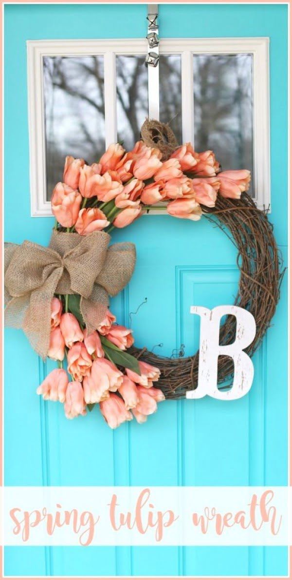 You have to see this tutorial on how to make #DIY tulip wreath for spring decor #HomeDecorIdeas