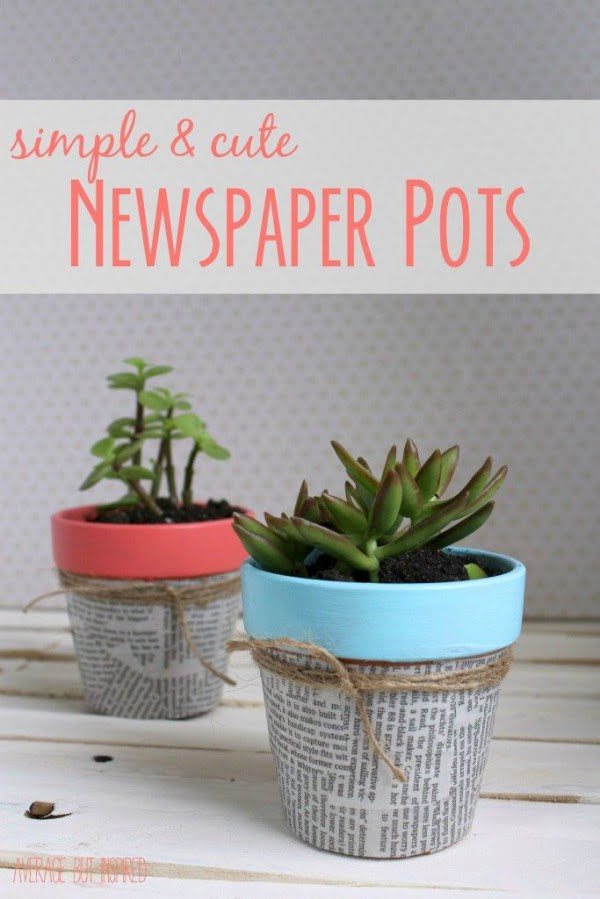 Check out this easy idea on how to make a #DIY flower pot with newspaper cover #HomeDecorIdeas