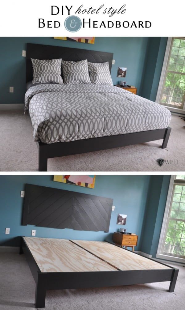 45 Easy DIY Bed Frame Projects You Can Build on a Budget - Check out the tutorial on how to make a #DIY bed frame with a hotel style headboard. Looks easy enough! #BedroomIdeas #HomeDecorIdeas