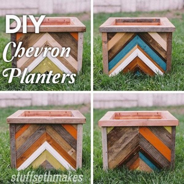 Great idea! Check out the tutorial on how to make  chevron wood box garden planters