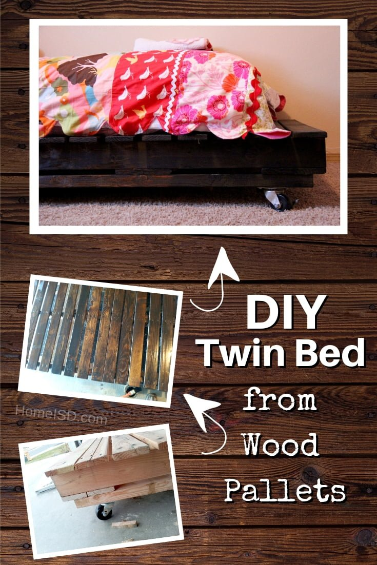 Built a DIY twin bed from wood pallets. Check out other DIY bed frame options too. Great list! #DIY #furniture #homedecor