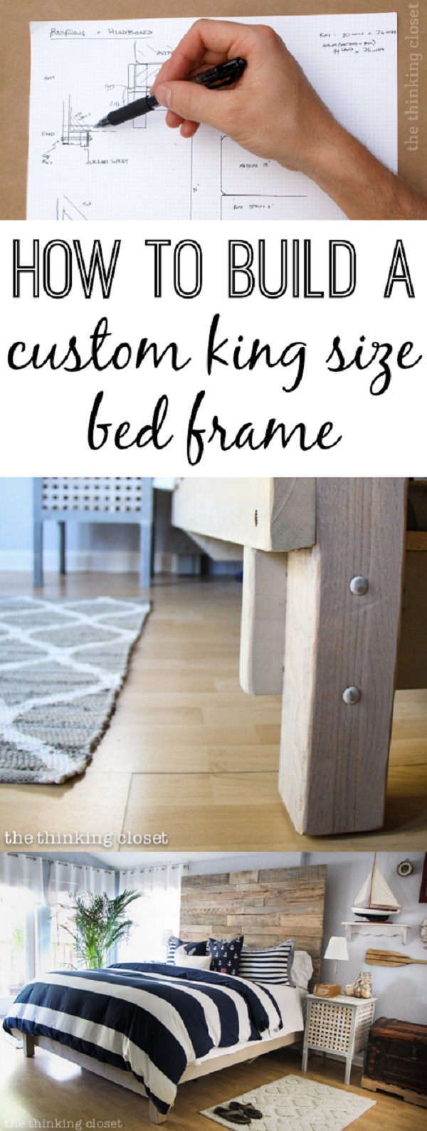 45 Easy DIY Bed Frame Projects You Can Build on a Budget - Check out the tutorial on how to make a #DIY custom king size bed frame. Looks easy enough! #BedroomIdeas #HomeDecorIdeas