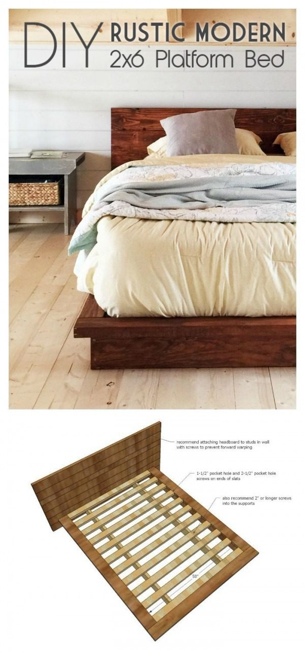 45 Easy DIY Bed Frame Projects You Can Build on a Budget - Check out the tutorial on how to make a #DIY #rustic modern 2x6 bed frame. Looks easy enough! #BedroomIdeas #HomeDecorIdeas
