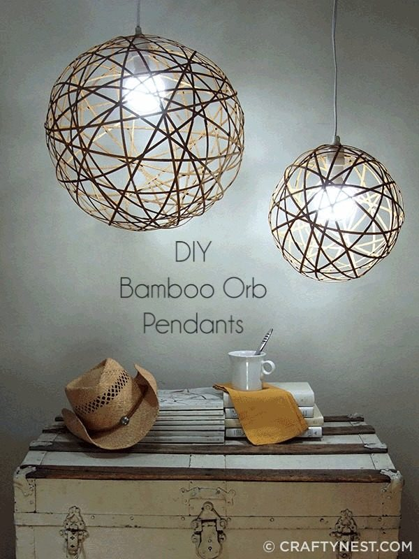 Check out the tutorial on how to make  bamboo orb lights. Looks easy enough!
