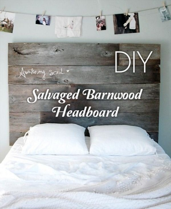 Check out this tutorial on how to make a #DIY salvaged barnwood headboard. Looks easy enough! #BedroomIdeas #HomeDecorIdeas