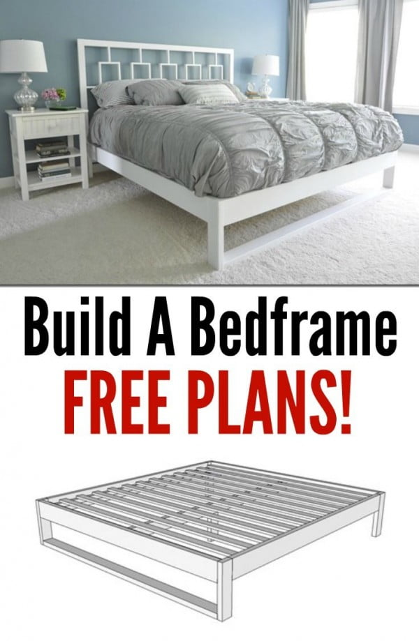 45 Easy DIY Bed Frame Projects You Can Build on a Budget - Check out the tutorial on how to make a #DIY simple bed frame. Looks easy enough! #BedroomIdeas #HomeDecorIdeas