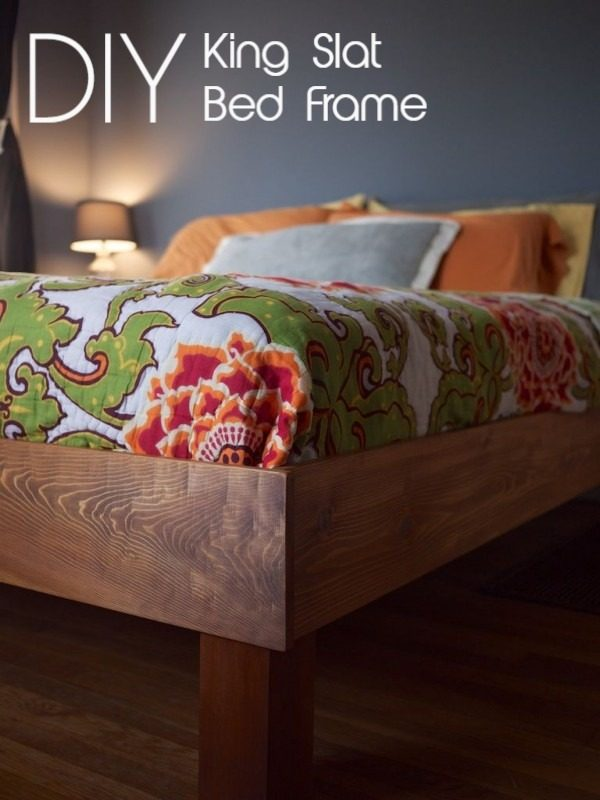 Check out the tutorial on how to make a  king slat bed frame. Looks easy enough!   @istandarddesign