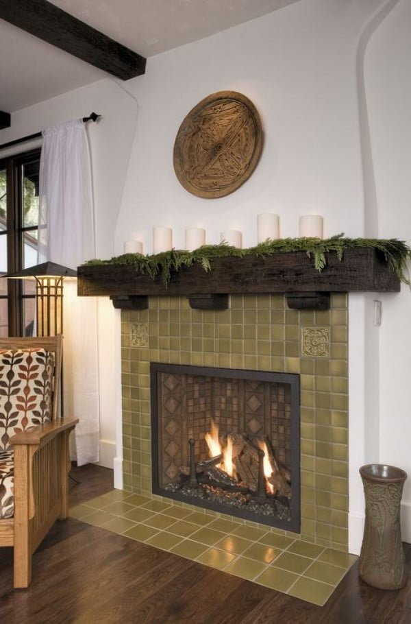 living room decor idea with accent mantel decor. Love it!