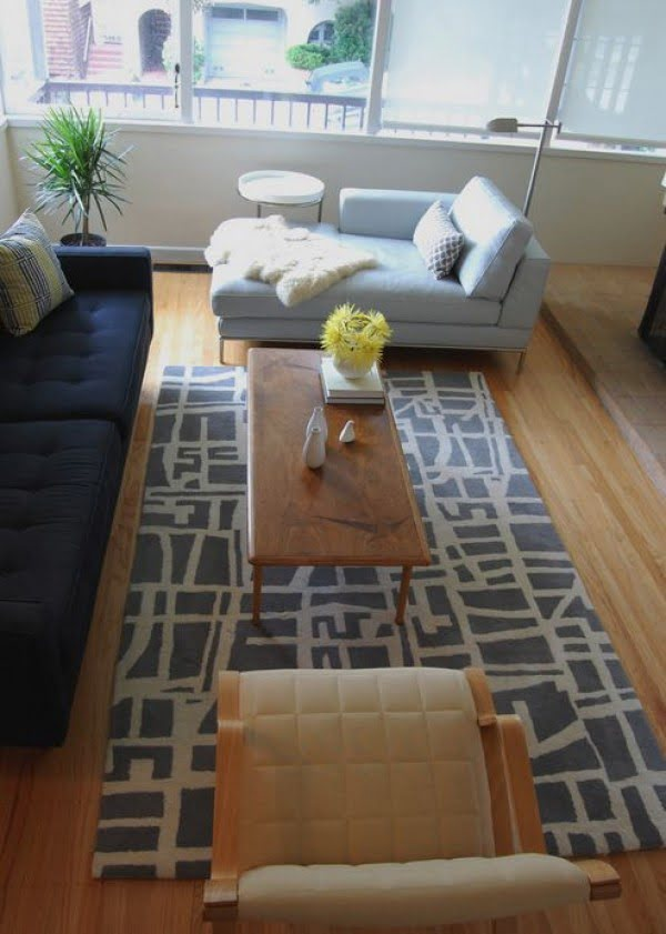 living room decor idea with an accent runner rug. Love it!