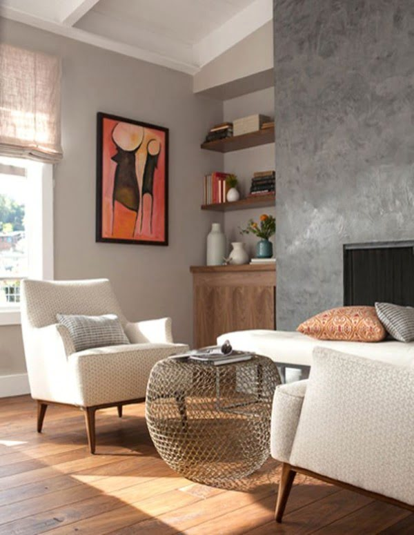 living room decor idea with industrial accent walls. Love it!