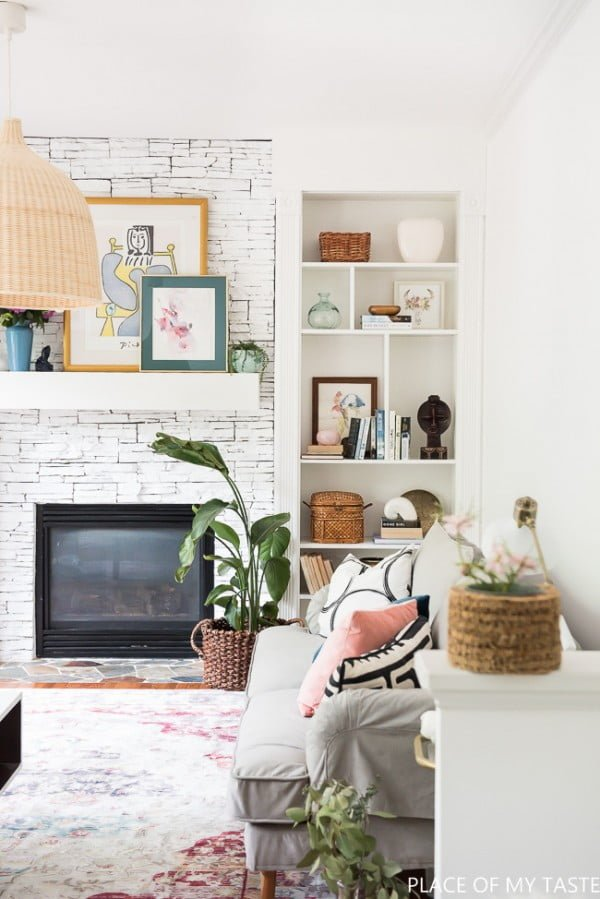 living room decor idea with built-in shelves. Love it!