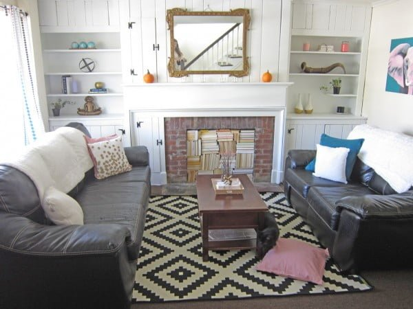 living room decor idea with a fireplace bookshelf. Love it!