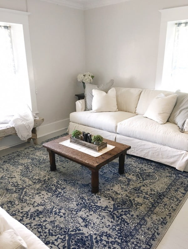 living room decor idea with a rustic coffee table. Love it!