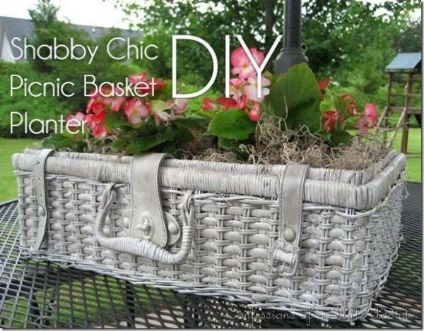 Great idea! Check out the tutorial on how to make a  shabby picnic basket garden planter