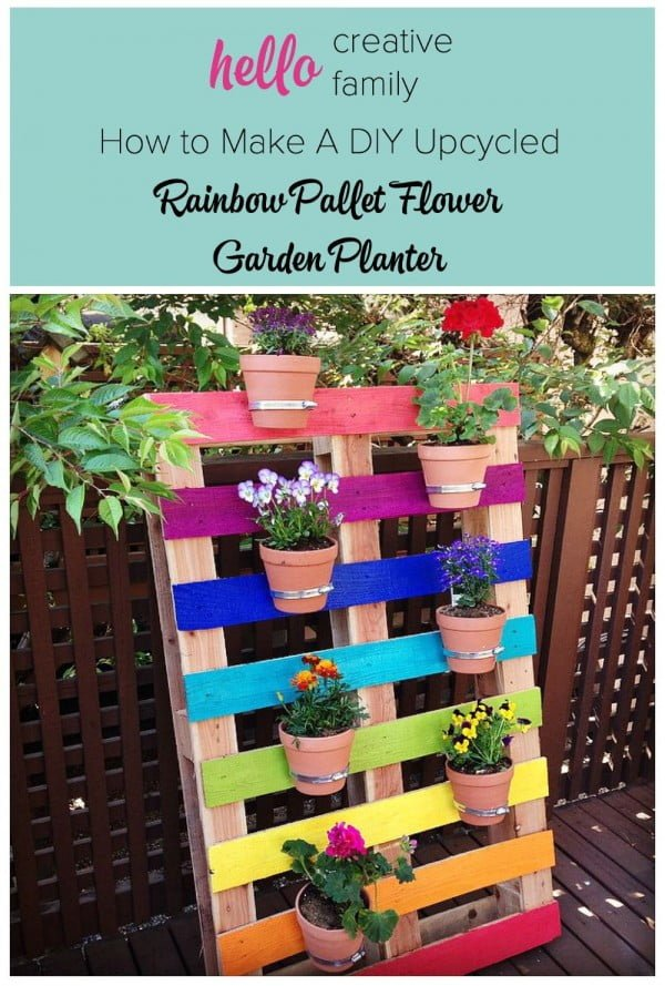 Great idea! Check out the tutorial on how to make a #DIY rainbow pallet garden planter #Gardening