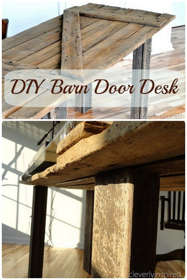Check out the tutorial on how to make a #DIY barn door desk table. Looks easy enough! #HomeDecorIdeas