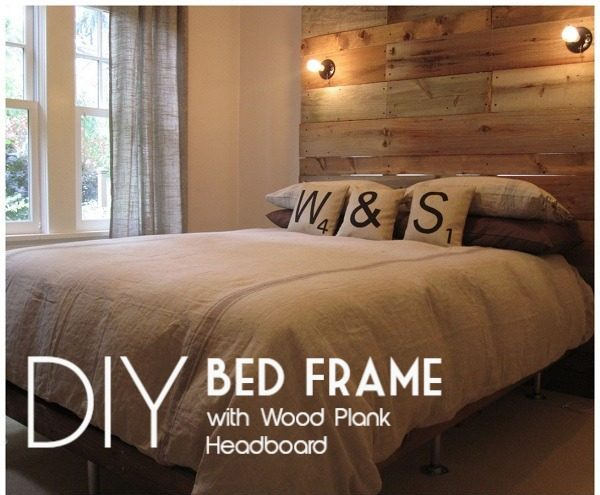 45 Easy DIY Bed Frame Projects You Can Build on a Budget - Check out the tutorial on how to make a  bed frame with a giant wood plank headboard. Looks easy enough!