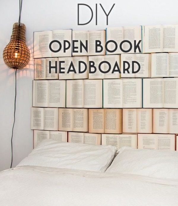 Check out this tutorial on how to make a  book headboard. Looks easy enough!