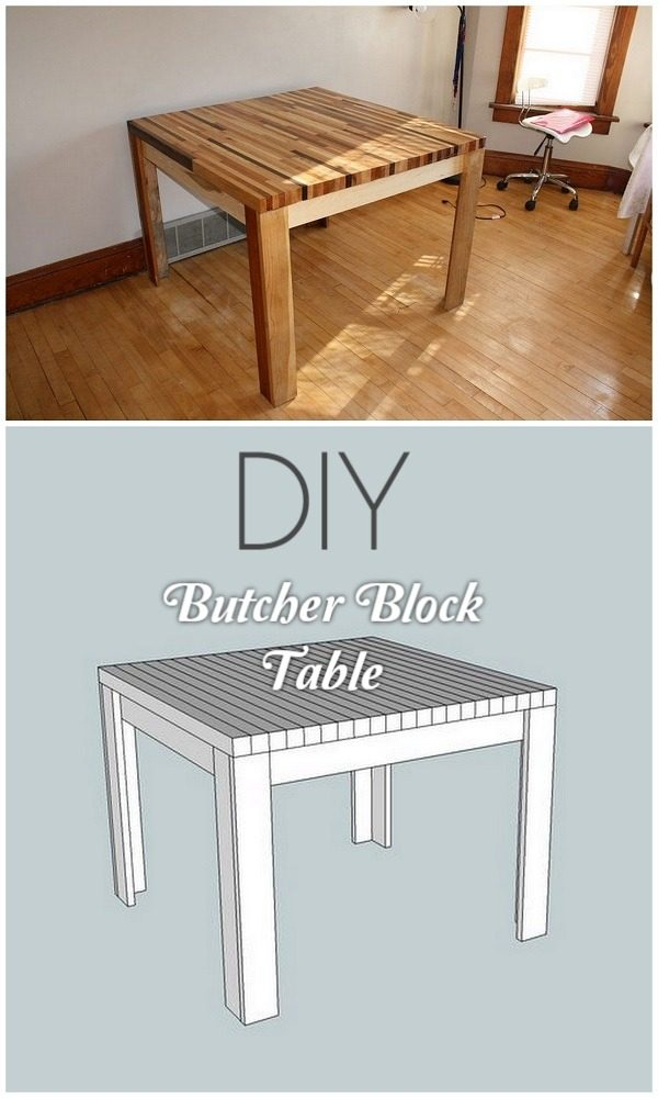 Check out the tutorial on how to make a #DIY butcher block table. Looks easy enough! #HomeDecorIdeas