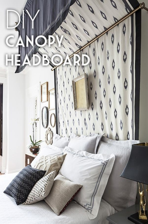 Check out this tutorial on how to make a #DIY canopy headboard. Looks easy enough! #BedroomIdeas #HomeDecorIdeas