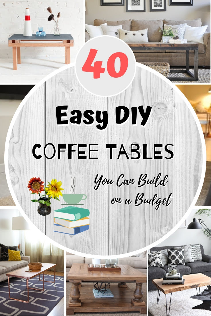 Coffee tables are essential to living room decor. And you can make your own DIY coffee table too. Here are 40 easy tutorials to choose from! This list is worth saving! #homedecor #DIY #crafts #furniture
