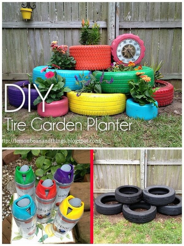 Great idea! Check out the tutorial on how to make  colorful tire garden planters