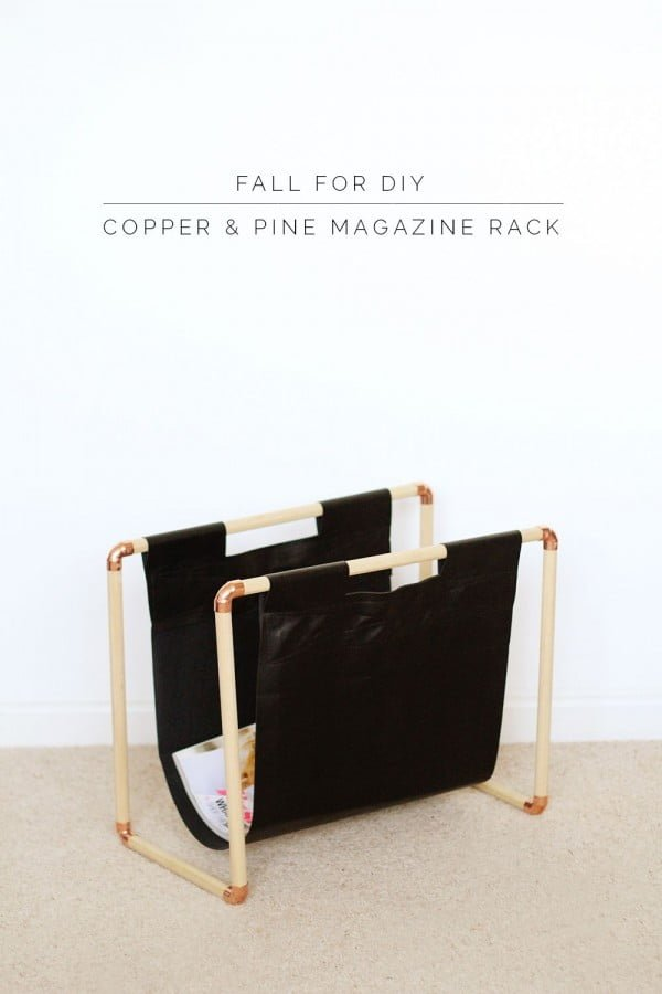 Check out the tutorial on how to make a  copper and pine magazine rack. Looks easy enough!