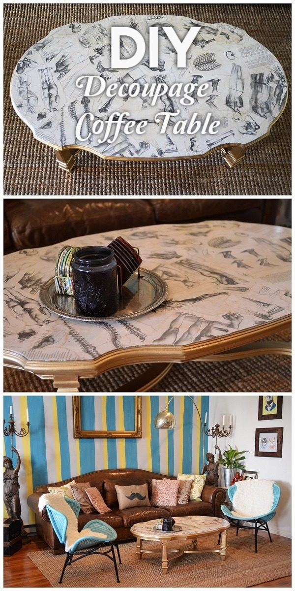 Check out the tutorial on how to make a #DIY decoupage coffee table. Looks easy enough! #HomeDecorIdeas