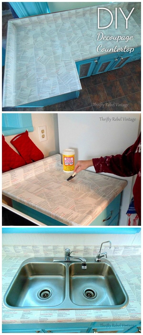 20 Easy Countertop DIY Tutorials to Revamp Your Kitchen - Check out the tutorial on how to make a  decoupage kitchen countertop. Looks easy enough!