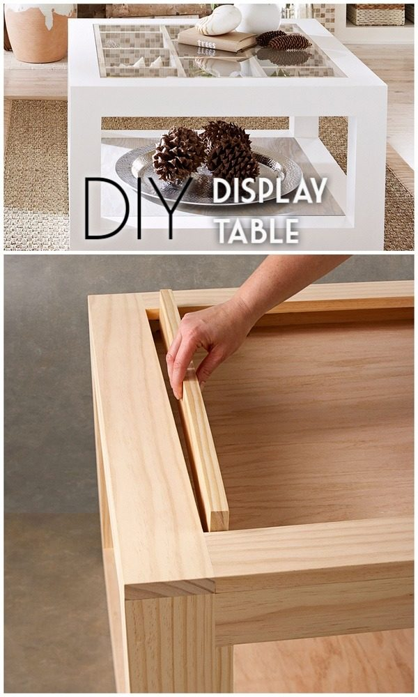 Check out the tutorial on how to make a #DIY display coffee table. Looks easy enough! #HomeDecorIdeas
