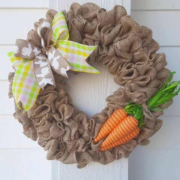 Check out this   wreath idea with burlap and carrots. Love it!