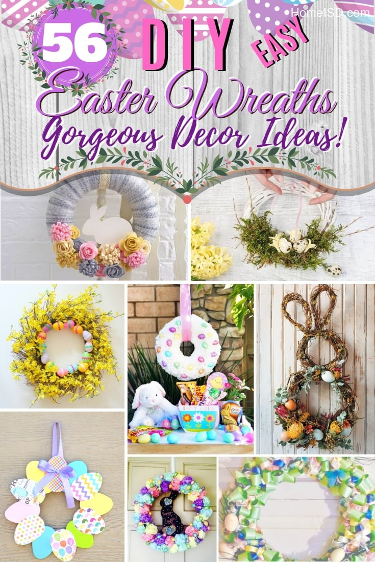 Make the best Easter wreath. Choose from these 56 gorgeous ideas. Great list! #easter #easterwreath #wreath #homedecor #DIY #homedecor