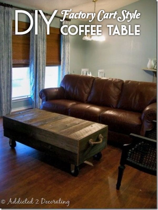 Check out the tutorial on how to make a #DIY factory cart coffee table. Looks easy enough! #HomeDecorIdeas
