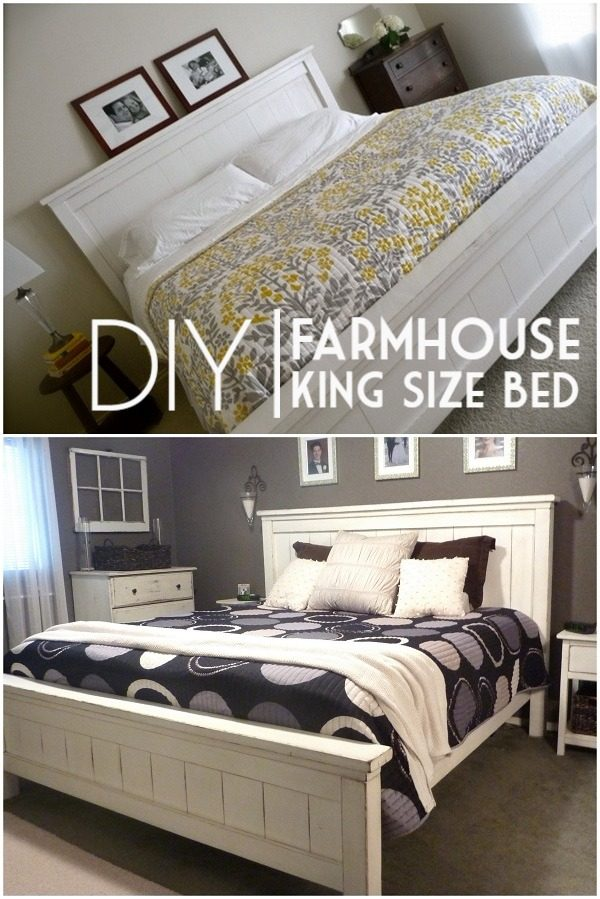 45 Easy DIY Bed Frame Projects You Can Build on a Budget - Check out the tutorial on how to make a #DIY #farmhouse king bed frame. Looks easy enough! #BedroomIdeas #HomeDecorIdeas