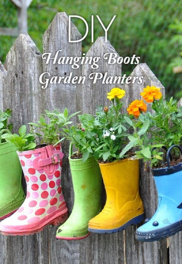 Great idea! Check out the tutorial on how to make #DIY hanging rain boots garden planters #Gardening