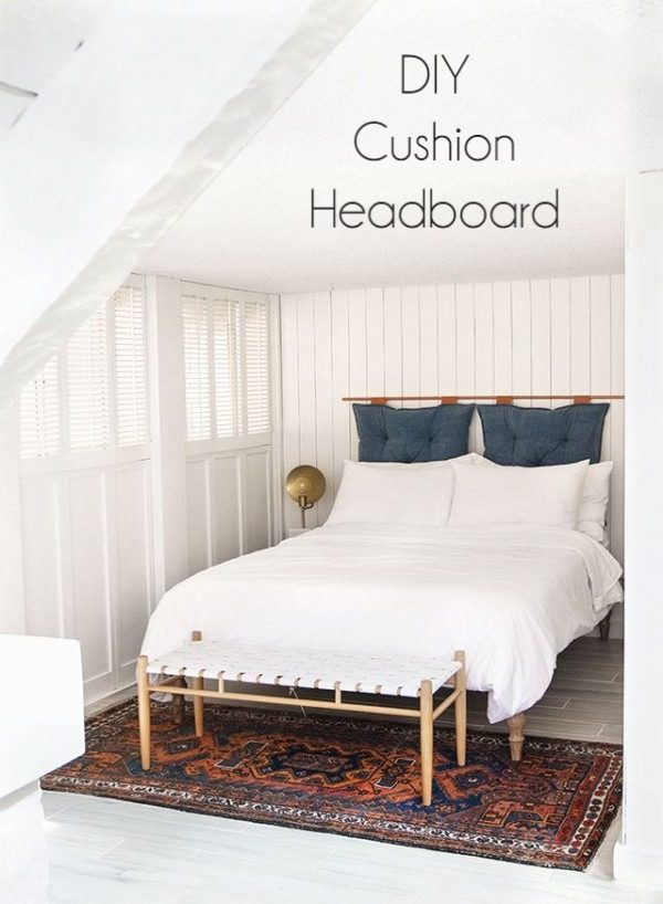 Check out this tutorial on how to make a  floor cushion headboard. Looks easy enough!