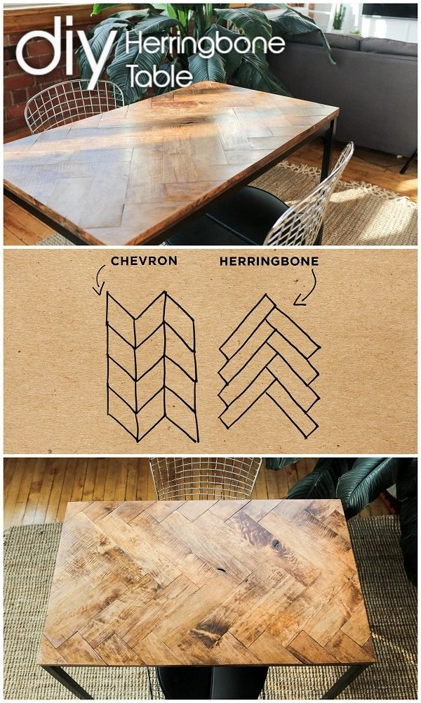 Check out the tutorial on how to make a #DIY herringbone table. Looks easy enough! #HomeDecorIdeas