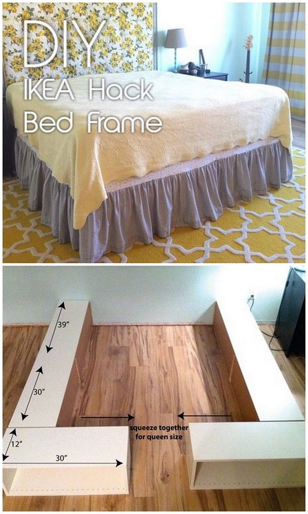 45 Easy DIY Bed Frame Projects You Can Build on a Budget - Check out the tutorial on how to make a #DIY IKEA hack bed frame. Looks easy enough! #BedroomIdeas #HomeDecorIdeas