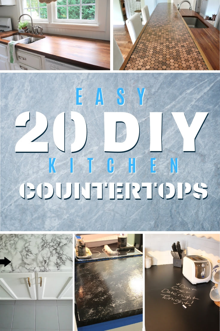 Up for a challenge to build your own DIY kitchen countertops? Here's a great list of 20 DIY countertops with tutorials! #homedecor #kitchendesign #DIY