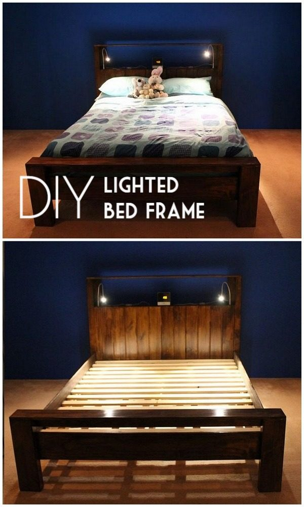 45 Easy DIY Bed Frame Projects You Can Build on a Budget - Check out the tutorial on how to make a #DIY lighted bed frame. Looks easy enough! #BedroomIdeas #HomeDecorIdeas