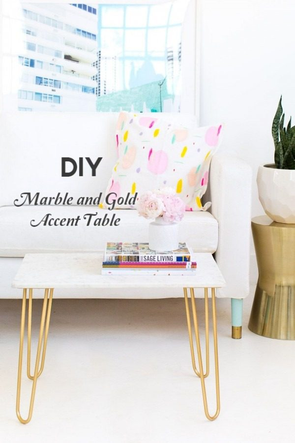 Check out the tutorial on how to make a #DIY marble and gold accent table. Looks easy enough! #HomeDecorIdeas