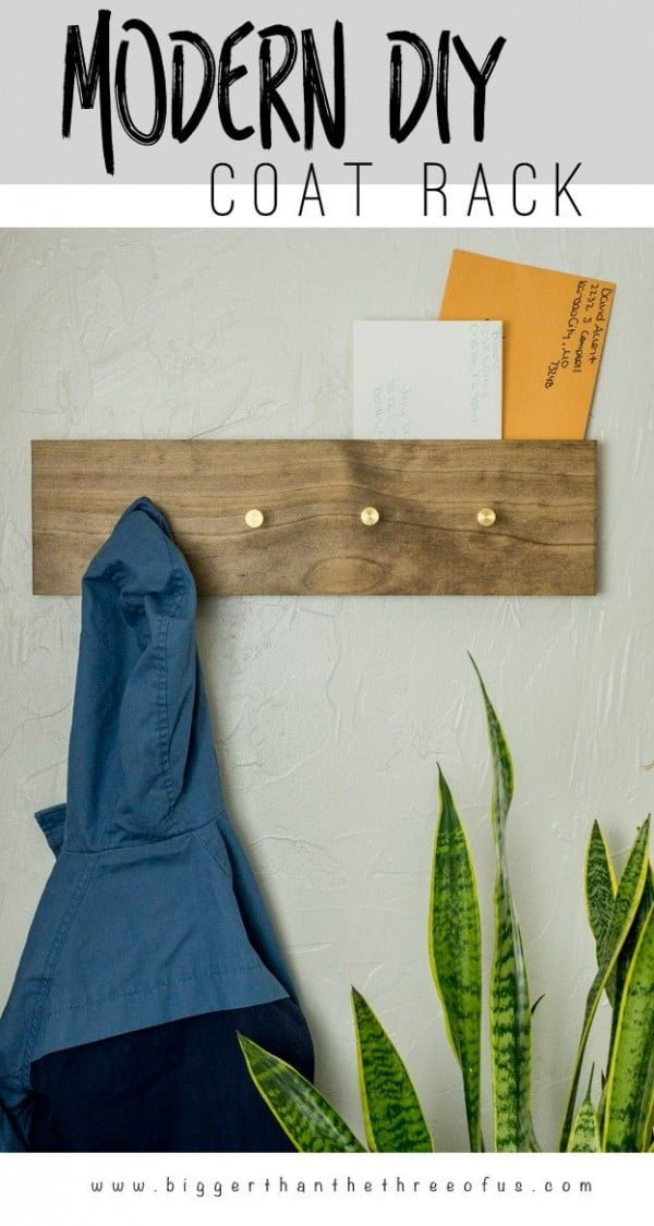 Check out the tutorial on how to make a  modern coat rack. Looks easy enough!