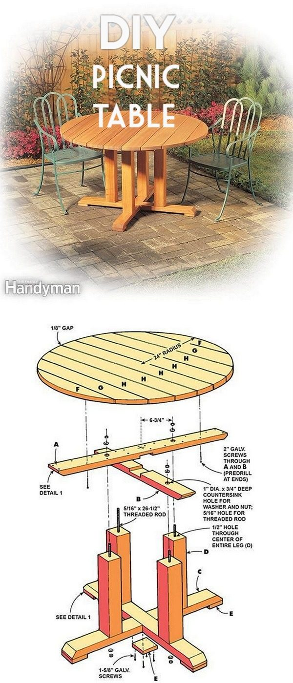 Check out the tutorial on how to make a #DIY pedestal picnic table. Looks easy enough! #HomeDecorIdeas