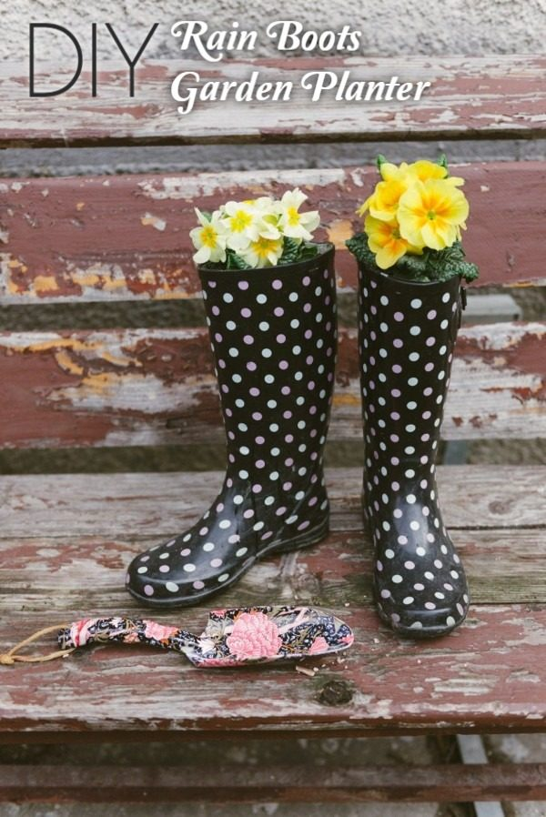Great idea! Check out the tutorial on how to make a  garden planter from rain boots