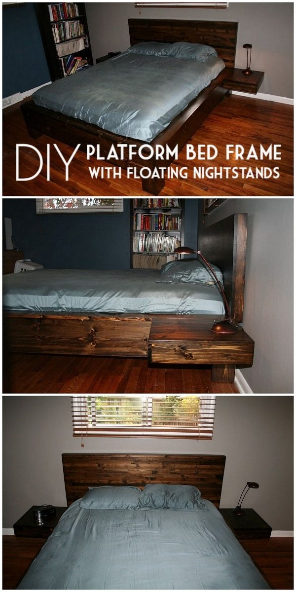 45 Easy DIY Bed Frame Projects You Can Build on a Budget - Check out the tutorial on how to make a #DIY bed frame with floating nightstands. Looks easy enough! #BedroomIdeas #HomeDecorIdeas